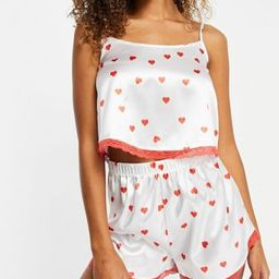 I Saw It First satin lace trim cami top and short pajama set in red heart print | ASOS (Global)