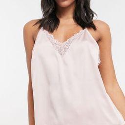 ASOS DESIGN mix & match satin pajama cami with lace trim & back detail in mink | ASOS (Global)