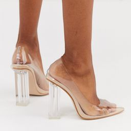 Public Desire Alluring Clear block heeled shoes in beige patent   ASOS (Global)