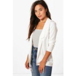 Womens Petite Notch Detail Oversized Blazer - White - 6, White | Boohoo.com (UK & IE)