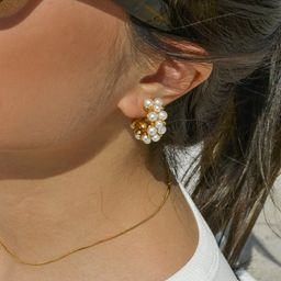 Pearl Hoop Earrings, Gold Pearl Hoops, Pearl Hoop earrings, Statement Earrings, Pearl Earrings, P... | Etsy (US)