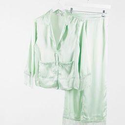 ASOS DESIGN premium satin & fringe shirt & pants pajama set in sage | ASOS (Global)