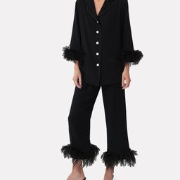 Feather-Trimmed Party Pajama Set | INTERMIX