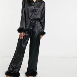 Night satin feather trim shirt and pants pajama set in black | ASOS (Global)