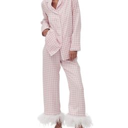Gingham Party Pajama Set with Feathers | Neiman Marcus