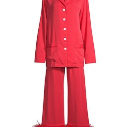 Sleeper Women's Party Feather 2-Piece Long Pajama Set - Red - Size XS | Saks Fifth Avenue