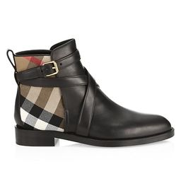 Burberry    Pryle Vintage Check Leather Ankle Boots    3.9 out of 5 Customer Rating | Saks Fifth Avenue