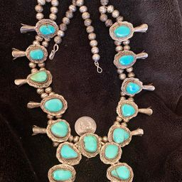 Extremely old Primitive style Turquoise Sterling Silver squash blossom necklace   Etsy (US)