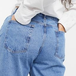 ASOS DESIGN Curve high rise 'slouchy' mom jeans in brightwash   ASOS (Global)