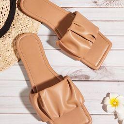 Ruched Wide Fit Slide Sandals | SHEIN