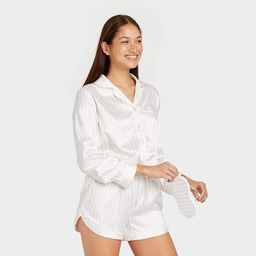 Women's 3pc Striped Satin Long Sleeve Notch Collar Top and Shorts Pajama Set with Eye Cover - Sta...   Target