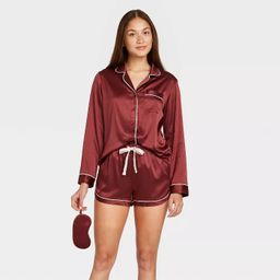 Women's 3pc Satin Long Sleeve Notch Collar Top and Shorts Pajama Set with Eye Cover - Stars Above...   Target