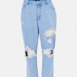 Plus Size Blue Riot Thigh Slash Mom Jeans | Missguided (US & CA)