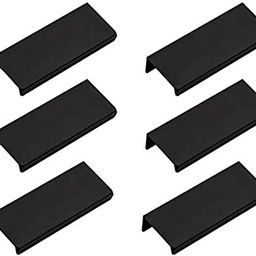 """LICTOP 80mm/3.15"""" Black Mount Finger Edge Pull Concealed Handle for Home Kitchen Door Drawer Cabi... 