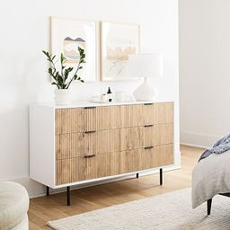 Quinn Wood 6-Drawer Dresser - White/Antique Bronze | West Elm (US)