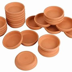 Bright starl 24pcs Terra Cotta Saucer, 3.2-inch Small Mini Clay Pots Tray, Suitable for 3inch, 2.... | Amazon (US)