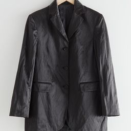 Long Fitted Padded Shoulder Satin Blazer   & Other Stories