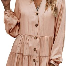 Women Tunic Tops Casual Solid Long Sleeve Ruffle V Neck Button Down Loose Babydoll Shirt Blouse | Amazon (US)