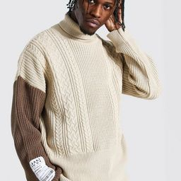 Man Roll Neck Cable Jumper With Woven Label | boohooMAN (DE, IE & UK)