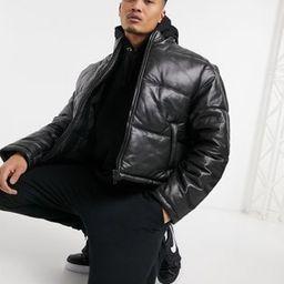 ASOS DESIGN cropped leather puffer jacket in black | ASOS (Global)