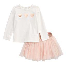 Glitter Heart T-Shirt & Tulle Skirt Set | Nordstrom
