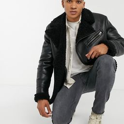 ASOS DESIGN faux shearling aviator jacket in black   ASOS (Global)