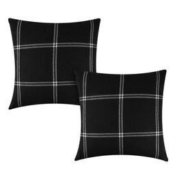 Better Homes & Gardens Reversible Windowpane Plaid to Solid Decorative Throw Pillow Cover, 2 Pack | Walmart (US)