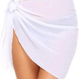 Women Short Sarongs Beach Wrap Sheer Bikini Wraps Chiffon Cover Ups for Swimwear S-3XL | Amazon (US)