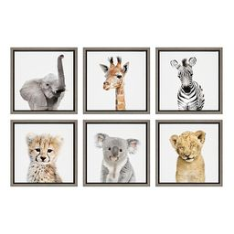 Kate And Laurel® Sylvie Safari Animals 13-Inch Frame Canvas Wall Art (Set of 6) | Bed Bath & Bey... | Bed Bath & Beyond
