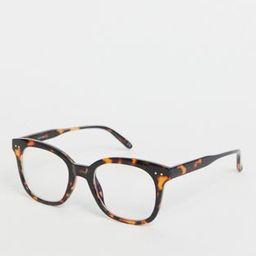 ASOS DESIGN blue light clear lens glasses in tort | ASOS (Global)