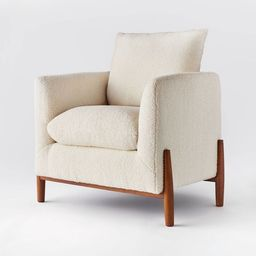 Elroy Sherpa Accent Chair with Wood Legs Cream - Threshold™ designed with Studio McGee   Target