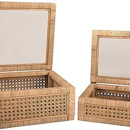 Creative Co-op Cane and Rattan Glass Lid, Set of 2 Display Boxes, Natural | Amazon (US)