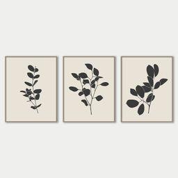 Abstract Leaves Plant Art Decor, Botanical Art Set of 3 Prints, Black and Beige Neutral Art Print...   Etsy (US)