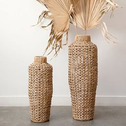 Cecily Water Hyacinth and Rattan Open Woven Vases   Pottery Barn (US)