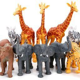 Jumbo Safari Animal Figurines Toys, 12 Piece African Jungle Zoo Animals Figures, Realistic Wild P... | Amazon (US)