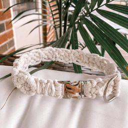 White Boho Macrame Dog Collar | Boho Dog Collar | Boho Chic | Dog Gifts | Pet Supplies | Macrame ... | Etsy (US)