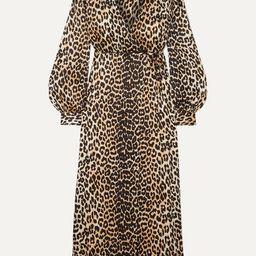 GANNI - Leopard-print Silk-blend Satin Wrap Dress - Leopard print | Net-a-Porter (US)