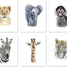 A1 Nursery Wall Art Decor Poster - Watercolor Safari Baby Animal Prints - Wildlife Paintings -Jun... | Amazon (US)