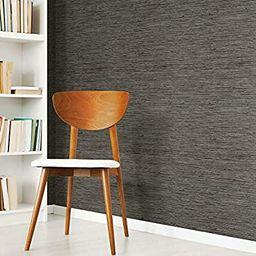 RoomMates RMK11313WP Grasscloth Grey Peel and Stick Wallpaper, Dark Gray | Amazon (US)