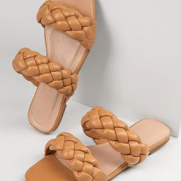 Braided Dual Vamp Faux Leather Sandals | SHEIN