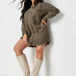 Plus Size Khaki Oversized Denim Shirt Dress | Missguided (US & CA)