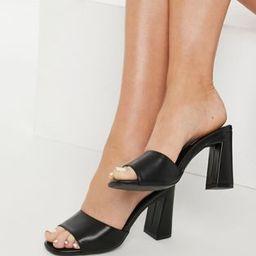 Glamorous Wide Fit heeled mules in black | ASOS | ASOS (Global)