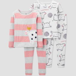 Toddler Girls' 4pc North Cow Pajama Set - Just One You® made by carter's White/Gray/Pink   Target