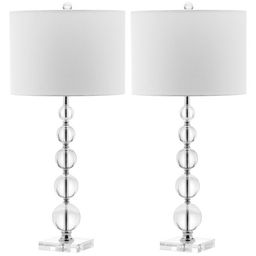 """Safavieh Lighting 29-inch Liam White Shade Stacked Crystal Ball Table Lamp - 14""""x14""""x29""""   Overstock"""