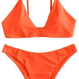 ZAFUL Women's Tie Back Padded High Cut Bralette Bikini Set Two Piece Swimsuit | Amazon (US)