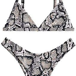 ZAFUL Women's Snakeskin Print Swimsuit High Cut Bikini Set Straps Two Piece Bathing Suit | Amazon (US)