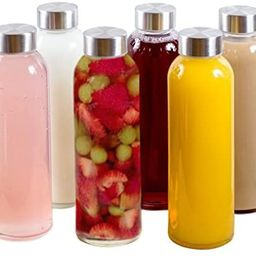 Brieftons Borosilicate Glass Water Bottles: 6 Pack, 18 Oz, Stainless Steel Lid, Durable, Crack & ... | Amazon (US)