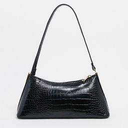 ASOS DESIGN black croc effect shoulder bag with hardware tabs | ASOS | ASOS (Global)