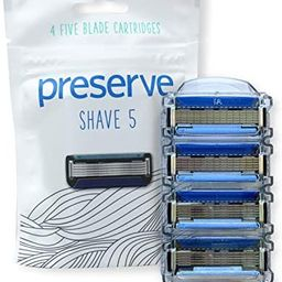 Preserve Five Blade Replacement Cartridges for Preserve Shave Five Recycled Razor, 4 Count | Amazon (US)
