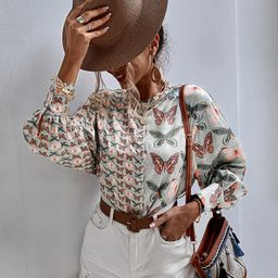 Butterfly Print Button Up Blouse   SHEIN